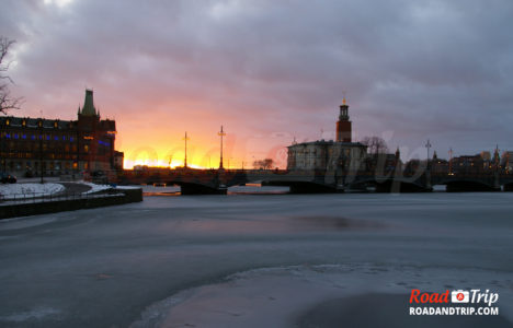 Coucher de soleil sur Stockholm