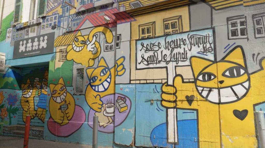Fresque murale dans le quartier des créateurs Marseille
